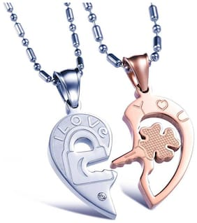 COUPLE LOCKET LOCK AND KEY IN BROKEN HEART