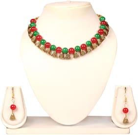 Crazance Beautiful Red and Green Beads Antique Necklace Set