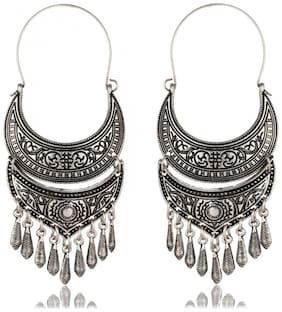 Crunchy Fashion Oxidised Silver Plated Dangle & Drop Tribal Earrings For Women