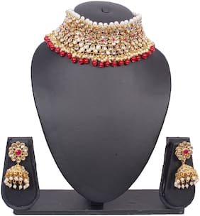 Crystora Floral Kundan Necklace Set with Jhumki Earrings