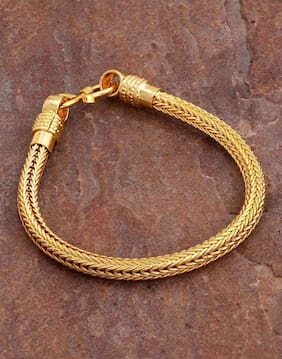 Dare by Voylla Braided Design Gold Plated Bracelet For Men