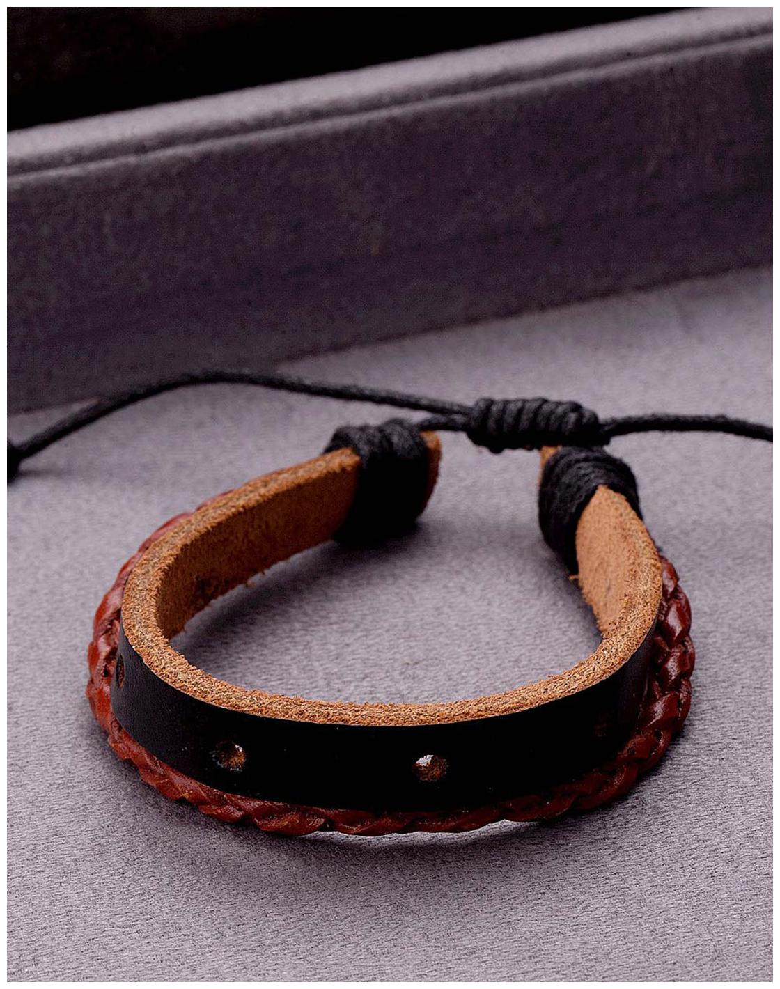 Voylla Men Leatherite Bracelets - Black