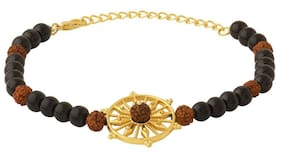 Dare Chakra Designer Rudraksha & Black Beaded Bracelet For Men