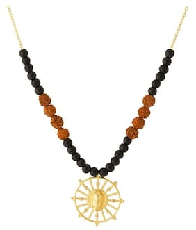 Dare Lord Buddha Inscribed In A Chakra Designer Pendant With Rudraksha & Black Beaded Chain For Men