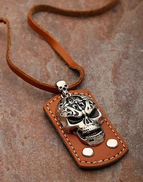 Dare by Voylla Oxidized Silver Skull Design Pendant With Leather Chain