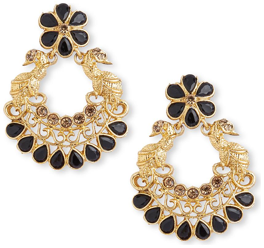 DC Stylish Gold Plated Latest Design Stone Peacock Pearl Chandbali Earring for Women and Girls AG ER 3632