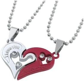 De-Ultimate Valentine's Day Special Metal Stainless Steel I Love You Diamond Nug Broken Heart Romantic Love Couple 2 In 1 Beautiful Duo Locket Pendant Necklace With Chain For Boy's & Girl's Multi