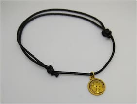 Designer adjustable knot black thread single anklets with gold coins charms