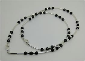 Designer anklets in silver, black n pipe beads 10inch long