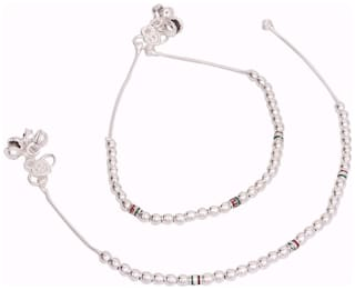 Designer Oxydised Silver Anklet for women by beadworks (AKL-78)