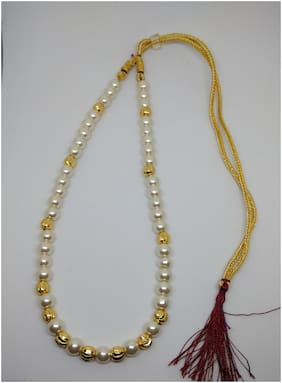 Designer pearl and gold beads necklace with back dori