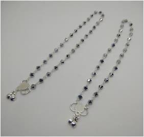 Designer silver crystal beads anklets