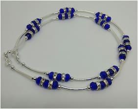 Designer Silver n Royal blue crystal beads anklet pair