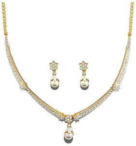 Dg Jewels 24K Gold Plated Bollywood Exotic Pearl Necklace Set-Cns9231