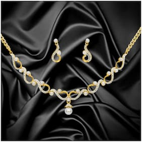 Dg Jewels Beautiful Twisted Pearl Necklace Set-CNS9219