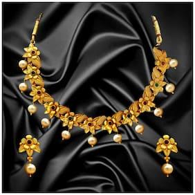 Dg Jewels Floral Gemstones & Pearl Necklace Set-BNS006