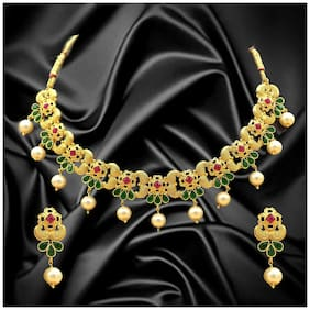 Dg Jewels Gems & Pearl Floral Necklace Set-BNS010