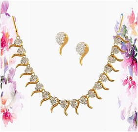 Dg Jewels 24K Gold Plated Bollywood Pretty Necklace Set-Cns9270