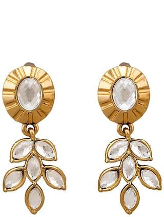 Dg Jewels Leafy Kundan Earrings-ER4008WH