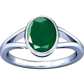 Divya Shakti 7.25-7.50 Ratti Emerald Panna Gemstone Silver Ring