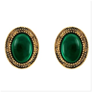 Donna Fashion Green Oval Stud Gold Plated Earrings With Crystals For Women Er30096G