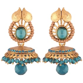 E tnico High Gold Plated Jhumki/Jhumkas Earrings for Women (E2438SB)