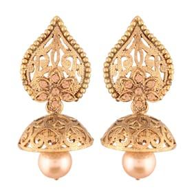 E tnico High Gold Plated Jhumki/Jhumkas Earrings for Women (E2431FL)