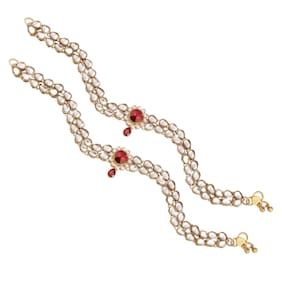E tnico Traditional Gold Plated Anklets For Girls & Women A014R