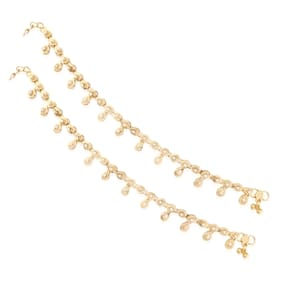 E tnico Traditional Gold Plated Anklets For Girls & Women A010FL