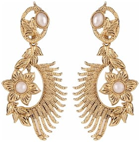Efulgenz Antique Gold Plated White Traditional Danglers Earrings for Girls and Women