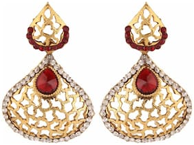Efulgenz Antique Gold Plated Red Traditional Danglers Earrings for Girls and Women