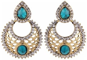 Efulgenz Antique Gold Plated Green Traditional Chandbali Earrings for Girls and Women