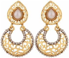 Efulgenz Antique Gold Plated Pearl Traditional Chandbali Earrings for Girls and Women