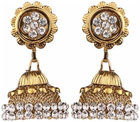 Efulgenz Antique Gold Plated Crystal Traditional Jhumka Jhumki Earrings for Girls and Women