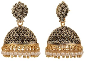 Efulgenz Antique Oxidised Pearl Traditional Danglers Earrings for Girls and Women