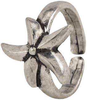 Efulgenz Boho Vintage Gypsy Oxidised Silver Statement Adjustable Floral Star Shape Ring Jewellery