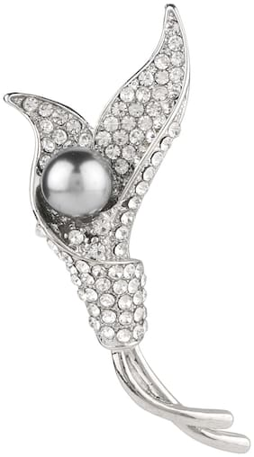 Efulgenz Fancy Latest Designer Silver Plated Austrian Diamond Pearl Floral Brooch Saree Pin Jewellery Valentine Birthday Gift