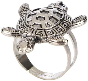 Efulgenz Fashion Jewellery Stylish Antique Boho Vintage Oxidised Silver Tortosie Statement Adjustable Ring