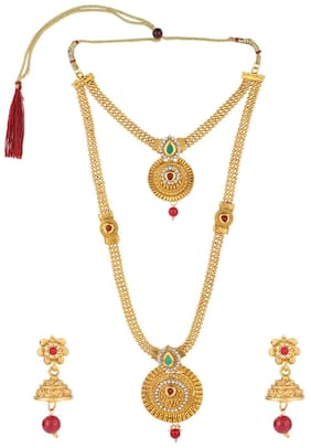 1eae6323fd Efulgenz Fashion Jewellery Kundan Gold Plated Temple Traditional Designer  Necklace Jewellery Set with Earrings for Women