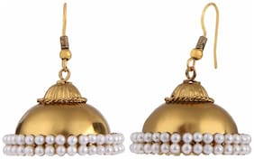 Efulgenz Gold Plated Pearl Traditional Jhumka Jhumki Earrings for Girls and Women