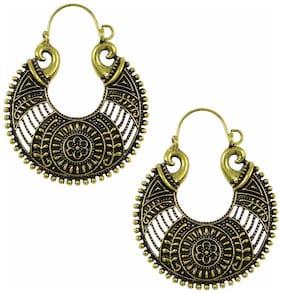 Efulgenz Gold Plated Designer Fancy Party Wear Hanging Hoop German Silver Earrings Jewellery for Girls and Women