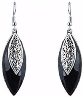 Efulgenz Oxidised Silver Stylish Black Fancy Party Wear Dangler Earrings Jewellery for Girls & Women