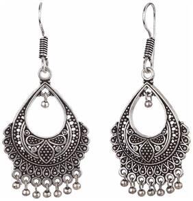Efulgenz Oxidised Silver Plated Stylish Fancy Party Wear Dangler German Silver Earrings Jewellery for Girls and Women