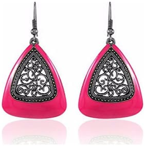 Efulgenz Oxidised Silver Plated Stylish Pink Fancy Party Wear Clip on Earrings Jewellery for Girls & Women