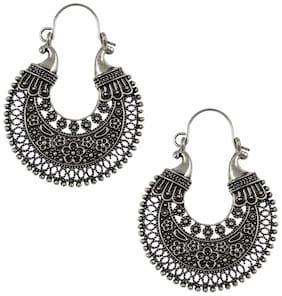 Efulgenz Silver Plated Designer Fancy Party Wear Hanging Hoop German Silver Earrings Jewellery for Girls and Women