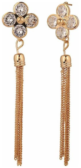 Efulgenz Trendy Gold Plated White Fancy Party Wear Dangle Earrings for Girls and Women