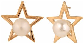 Efulgenz Trendy Gold Plated Pearl Daily Wear Stud Earring for Girls and Women