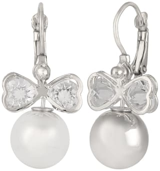 Efulgenz Trendy Silver Plated Daily Wear Clip-on Earrings for Girls and Women