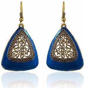 Efulgenz Trendy Gold Plated Blue Fancy Party Wear Dangle Earrings for Girls and Women