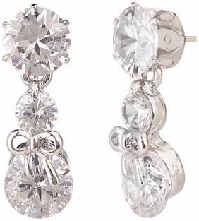 Efulgenz Trendy Silver Tone Jewellery Stylish Fancy Party Wear American Diamond Drop Earrings for Girls & Women